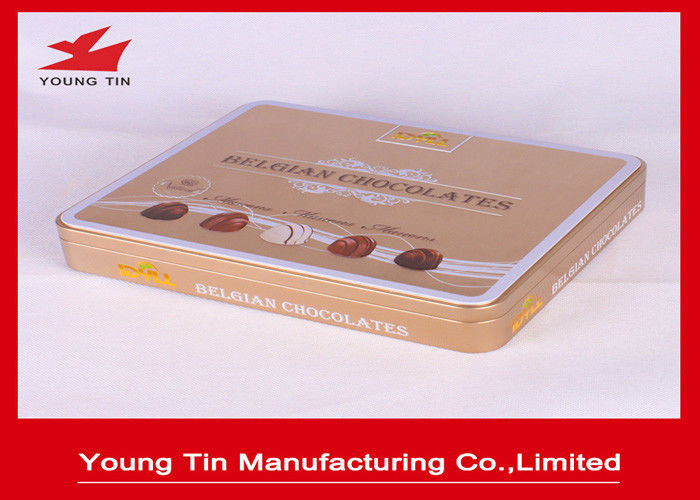 Large Square Plain Chocolate Candy Gift Tins Box 0.23 MM Tinplate With Lids