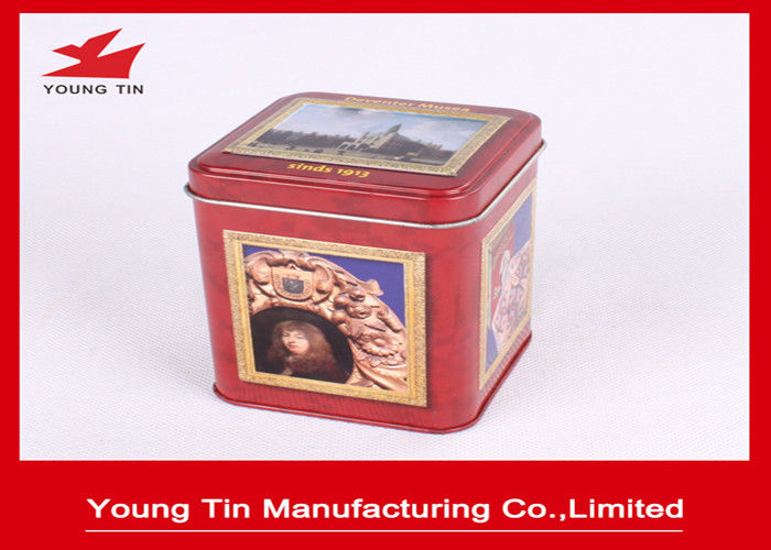 Food grade Tinplate Metal Square Coffee Tins Box Containers With Hinged Lid