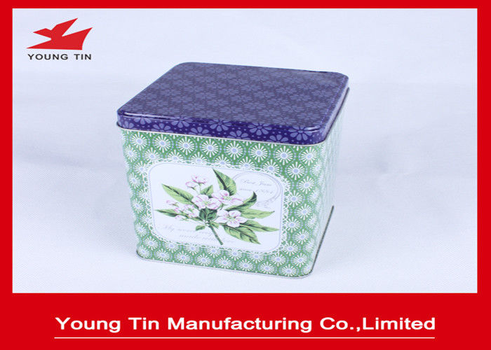 0.23 MM Recycleable Square Metal Tea Tins With CMYK Custom Artwork Printing