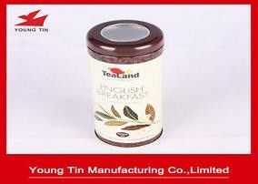 Brown Metal Tea Tins With Clear Top Window , Empty Round Tea Packaging Containers
